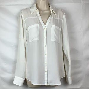 Express Portofino ivory sheer blouse